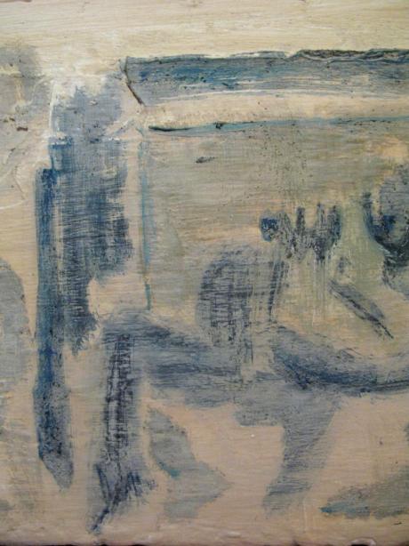 oil, sand & gloss on reclaimed wood, 760 x 260 mm, 2013